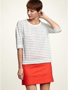 Maybe sort of finally embracing the 80s trend?  Striped drop-shoulder T from the Gap, $30
