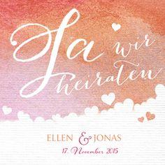 """Hochzeitskarte mit rotem Rosenaquarell und """"Ja, wir heiraten"""" in weißen Buchstaben"""