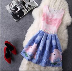 """Item Type: Dress Material: Organza Sleeve Length: Sleeveless Collar: Round Neck Pattern: Print Style: Fashion Color: Pink,Light Blue Size: XS (US Size) Bust: 31-33"""", Waist: 23-25"""", Hips: 33-35"""" S (US"""