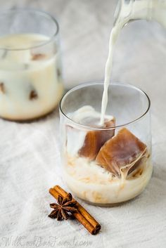 [ Recipe/Tip: Chai Iced Tea Cubes ] Made with: water, star anise, cinnamon stick, cloves, black peppercorns, cardamom pods, fresh ginger, turbinado sugar, and loose leaf black tea. ~ from Will Cook For Friends