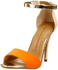 Chinese Laundry...ankle strap open toe orange heels