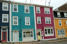 """The downtown of St. John's, Newfoundland is renowned for its brightly coloured Victorian rowhouses. Because of their vibrant colours, the houses are known affectionately as """"Jellybean Row"""". Royal Park, Vibrant Colors, Colours, Newfoundland, Jelly Beans, The World's Greatest, Quilting Projects, Painted Rocks, The Row"""