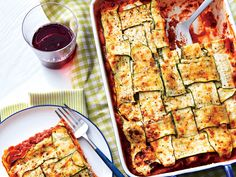 Three cheeses and thin, woven strips of zucchini make this one-pan classic a crowd-pleaser, whether you're cooking Sunday supper or planning for the family reunion. Use a mandoline slicer, not a vegetable peeler, to cut the thinnest zucchini strips. Zucchini Lasagna Recipes, Keto Lasagna, Vegetable Recipes, Vegetarian Recipes, Cooking Recipes, Recipe Zucchini, Vegetable Sides, Healthy Cooking, Healthy Eats