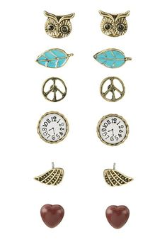 Peace and Owl Stud Earring Set available at #Maurices