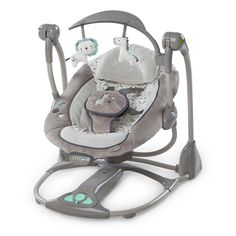 """35.7"""" L x 34.3"""" W x 41"""" H InLighten 3 Directional Cradling Swing and Rocker/ 2 in 1 infant seat in Orson,Supports children up to 20 lbs,. InLighten Cradling Swing and Rocker from Ingenuity is a unique 2-in-1 infant seat that can help sooth your baby with swing and rocker modes Supports children up to 20 lb. Suitable for babies from birth to approximately 9 months. 5-point SmartAdjustTM safety harness adjust with one pull 6 swing speeds 3 timer settings. Swing rotates at 180 degrees in 3..."""