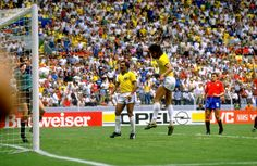 Socrates of Brazil scores during the World Cup match against Spain at the Jalisco Stadium in Guadalajara Mexico Brazil won the match 10 Mandatory. Socrates, World Cup Match, Retro Football, Yesterday And Today, Mexico, Soccer, Beautiful, Image, Brazil