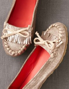 Metallic Casual Moccasins. Fall-season Perfect.