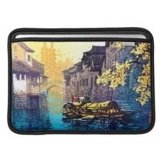 Chou Xing Hua Suzhou Scenery river sunset painting MacBook Air Sleeve #river #sunset #scenery #watercolor #chinese #city #painting #vintage #oriental #customizable #gift #waterscape #China #art