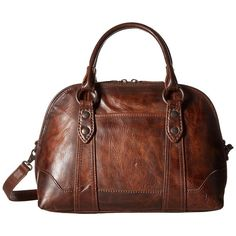 Frye Melissa Domed Satchel (Dark Brown) Satchel Handbags ($428) ❤ liked on Polyvore featuring bags, handbags, leather purses, brown crossbody purse, leather crossbody purses, frye handbags and leather cross body purse