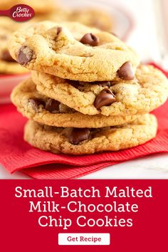 Grab some Gold Medal Flour and whip up these easy Small Batch Malted Milk Chocolate Chip Cookies. Pin now for when the cookie craving strikes! Milk Chocolate Chip Cookies, Vegetarian Eggs, Malted Milk, Baking Soda, Cookie Recipes, Cravings, Sweet Tooth, Cakes, Cooking