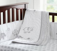 Pottery barn - Soooo cute! Crib sheet $19, bumper & blanket $150 each, also has cute elephant pillow for $29