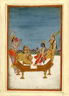 Rāma and Sīta enthroned, attended by Lakṣmaṇa and Hanuman. Gouache on paper.      Rajasthan School.  Date      18thC-19thC,