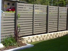 Slat-screen fencing for deck privacy - this is the idea for our back yard & vege terrace - painted in [Aust] Dulux 'IronStone' (NOt so high)