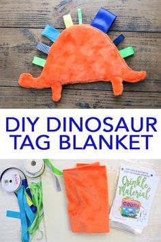 Make a baby tag blanket in a dinosaur shape with your Cricut machine in minutes!… Make a baby tag blanket in a dinosaur shape with your Cricut machine in minutes! A fun project for a newborn baby and perfect for baby shower gifts! Cadeau Baby Shower, Baby Shower Gifts, Boy Shower, Diy Baby Gifts, Baby Crafts, Diy Gifts For Babies, Homemade Baby Gifts, Homemade Toys, Baby Wallpaper