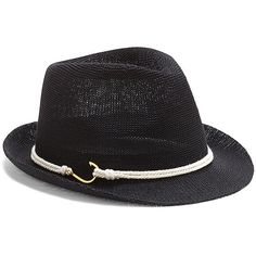 Vince Camuto Rope And Hook Packable Fedora (510 MXN) ❤ liked on Polyvore featuring accessories, hats, black polyester, band hats, black hat, black fedora hat, fedora hat y vince camuto