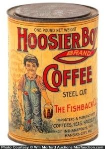 Paper litho (over tin) 1 lb. coffee tin for Hoosier Boy brand (Fishback Co., Indianapolis and Kansas City, Mo.) featuring nice image of trademark child. Vintage Tins, Vintage Labels, Vintage Kitchen, Coffee Tin, Coffee Cafe, Vintage Packaging, Coffee Packaging, Old Country Stores, Tin Containers