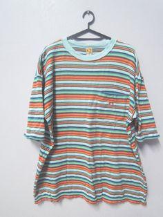 Vintage 90's Hang Ten Full Print T Shirt Sport Street Wear Swag Hip Hop Top Tee Punk Rock Surf Skate Size L