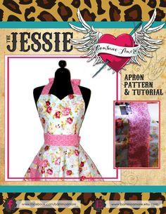 Retro Apron Pattern - Sweetheart Neckline Sexy Womans Apron Pattern - Vintage Apron Style Pattern - PDF Instant Download