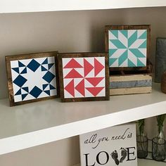 Look at these super cute barn quilts my daughter made! @burkesbarnquilts She has them in several sizes and colors! You should check them out! I know I want them all! #burkesbarnquilts #barnquilts I reposted this picture from @laurabrown58 They look so cute I her shelf!