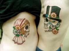 bride and groom sugar skull tattoo | couples tattoo | InkedWeddings.com