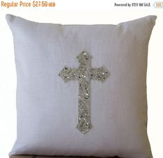 Amore Beaute Handcrafted Silver Cross Pillow Cover - White Linen Cross Pillowcases - Sequin Pillow Covers - Christian Cross Pillow Cover - Silver White Pillow Cases - Gift - Accent or Statement of Faith X Glam Pillows, Teal Throw Pillows, Silver Pillows, White Pillows, Linen Pillows, Cushions, Sequin Pillow, White Pillow Cases