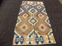 "Kilim Rug,4,2""x8,2"" Feet 127x250 Cm Turkish Kilim Rug,Soft Color Anatolian Kelim Rug,Zigzag Pattern Rug."