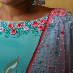 No photo description available. Chudidhar Neck Designs, Salwar Neck Designs, Churidar Designs, Neck Designs For Suits, Fancy Blouse Designs, Blouse Neck Designs, Embroidery On Kurtis, Hand Embroidery Dress, Embroidery On Clothes
