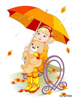"""""""Little girl and Teddy Bear under rain"""" Stock image and royalty-free vector files on Fotolia.com - Pic 27587948"""