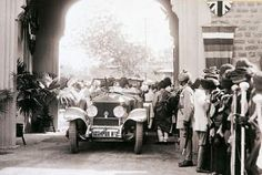A Rolls-Royce Silver Ghost belonging to the Maharaja of Jodhpur edges through a crowd in Jaipur. The Nizam of Hyderabad, reckoned at the time to be the world`s richest man, had some 50 Rolls-Royces along with 12,000 servants. But he was also a renowned skinflint who wore the same battered fez for years and only used one of his old Buicks to do his rounds of Hyderabad.