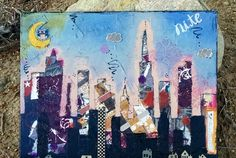 Skyline Abstract Art, Skyline Collage, Original Painting, Mixed Media, Mixed Media Canvas, Collaged Painting, Nighttime Art, Cityscape