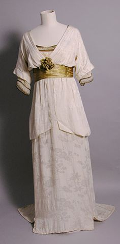 Walking Dress, Neville (Connaught Street, London, England): ca. 1913, silk crepon damask, chiffon, gold braid, gilt tissue, weighted so it would hang correctly. This evening dress was worn by Maud Messel.