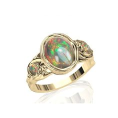 Opal Engagement and Wedding Ring Sterling Silver, 14K or 18K Gold by Anderson-Beattie.com