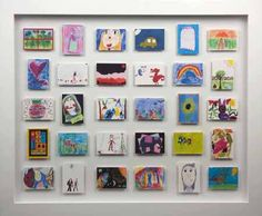 make a mini gallery for children's artwork.