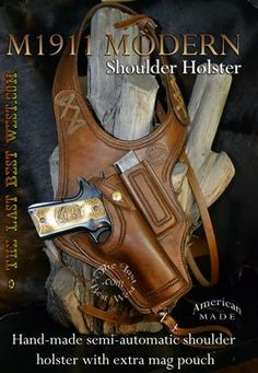 Modern Shoulder Holster mag pouch no chest strap angled holster strap and buckle snap conceal and carry 1911 Holster, Gun Holster, 1911 Leather Holster, Cowboy Holsters, Concealed Carry Holsters, Custom Leather Holsters, Mode Steampunk, Custom Guns, Custom 1911 Pistol