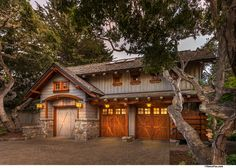 Barn House Design Ideas, Pictures, Remodel and Decor Garage Plans With Loft, Garage House Plans, Car Garage, Barn House Design, Garage Design, Carriage House Garage, Storybook Homes, Tiny House Cabin, Fun House