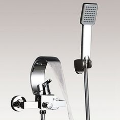 Modern Art Deco Retro Bad en douche Waterval Inclusief handdouche with Keramische ventiel Single Handle twee gaten for Chroom