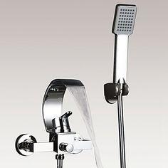 Modern Art Deco Retro Bad en douche Waterval Inclusief handdouche with Keramische ventiel Single Handle twee gaten for Chroom