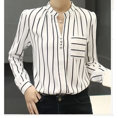 TE68129YWQS Korean fashion v-beck slim stripes chiffon shirt