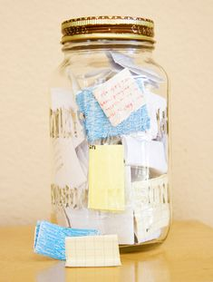 I love this idea of 'memories in a jar' from blogger Inchmark. You can write down all your memories on little notes and put them in a jar, so you can read them later and won't have to forget any nice memory. It's also a great idea to do this with your friends; just write down all the funny quotes, and read them all on new years eve. This would also be a great baby memory jar.
