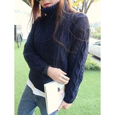 Simple Turtle Neck Long Sleeve Solid Color Women's Sweater
