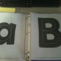 Highway letters. Students drive over the letters with a car. These are great in my block center too. Printed from makinglearningfun.com. Put them in sheet protectors and in a binder.