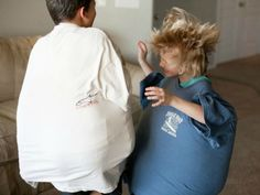 Sumo Wrestling King size pillows + Dad's old t-shirts = sumo wrestling fun. Seriously mama, when you can't tell your hyper, rambunctious, filled-with-way-too-much-energy kids to take it outside, let them wrestle, sumo-style, with this fun idea featured on allfortheboys.com.