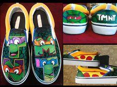 Hand painted custom TMNT (Teenage Mutant Ninja Turtles) shoes.