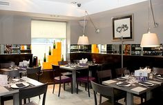 Arzabal restaurant. black and white space with purple accents. buttery ham croquettes, salmorejo, truffled eggs. TL Dec 2014