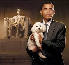 Obama with a labradoodle