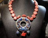 Vintage Statement Necklace Coral Stone Beads Chinese Enamel