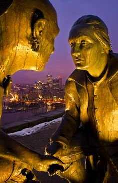 Statues of Gyasuta and George Washington at one of the lookout points on top of Mt. Washington in Pittsburgh, Pennsylvania //  by Matthew Kuhns, via 500px