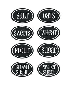 kitchen labels. I'm going to print these on label paper and stick them on the cheap clear plastic bins I have. :)