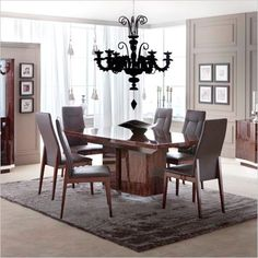 Contemporary Dining Room Sets Italian alf italia - mont noir dining table - italian made furniture | alf