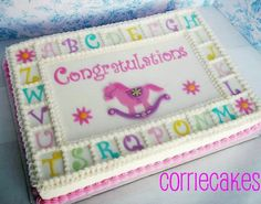Rocking Horse Baby Shower sheet iced in BC with MMF decorations- used 'funky alphabet' tappits for all the letters. Cupcakes, Cupcake Cakes, Baby Shower Sheet Cakes, Girl Cakes, Baby Cakes, Dog Cakes, Sweet Cakes, Birthday Sheet Cakes, Birthday Cake